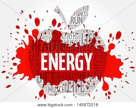 Energy apple word cloud concept, presentation background