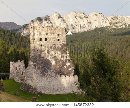 Castello or Castle Buchenstein under Col Di Lana Livinallongo South Tirol Dolomiten mountains Italien European Alps