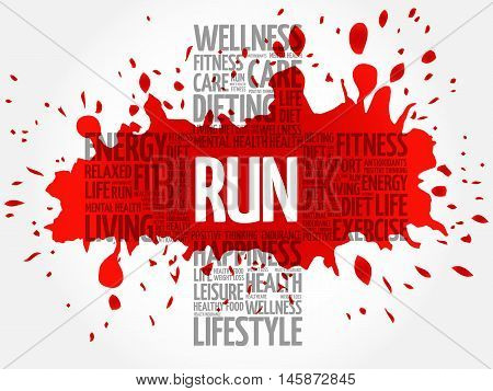 RUN word cloud health cross concept, presentation background