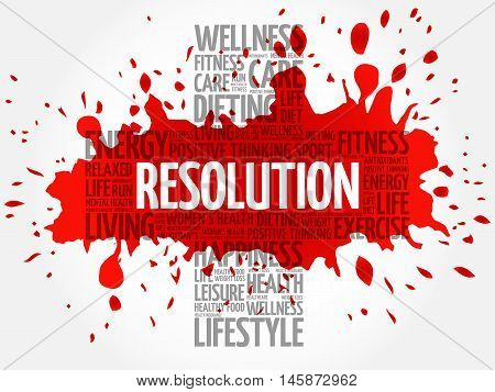 RESOLUTION word cloud health cross concept, presentation background