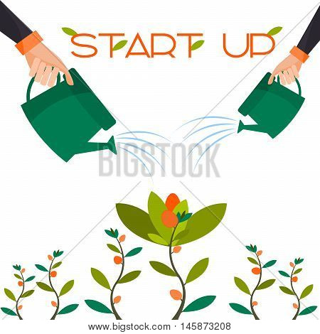 Start-up in the form of a flower attachment profit expectation. Vector