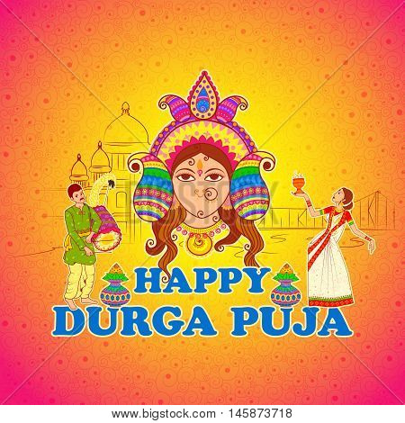 Vector design of woman performing Dhunuchi dance of Bengal for Durga Puja in Indian art style