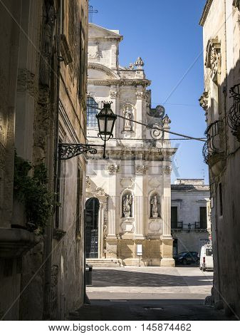 Charming Street In Lecce With An Old Cathedral, Italy