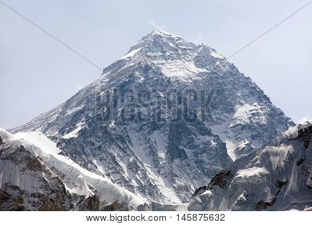 Top of Mount Everest from Kala Patthat way to Everest base camp Sagarmatha national park Khumbu valley Nepal