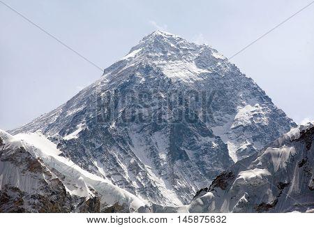 Top of Mount Everest from Kala Patthat way to Everest base camp Sagarmatha national park Khumbu valley Nepal