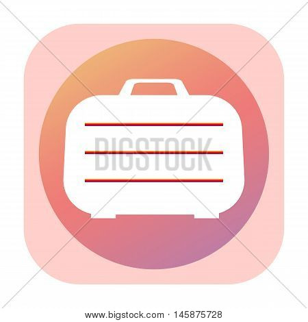Suitcase pink icon isolated on white background