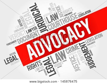 Advocacy word cloud concept , presentation background