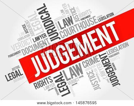 Judgement word cloud concept , presentation background