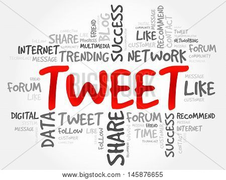 Tweet word cloud business concept, presentation background