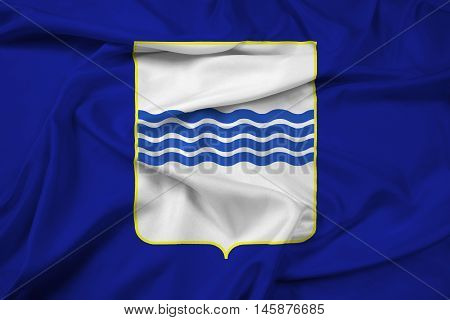 Waving Flag of Basilicata Italy, with beautiful satin background.