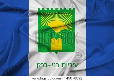 Waving Flag of Bnei Brak Israel, with beautiful satin background.