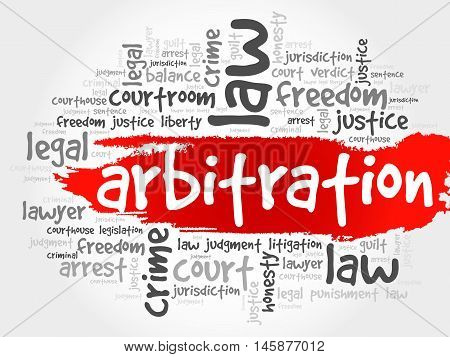 Arbitration word cloud concept , presentation background
