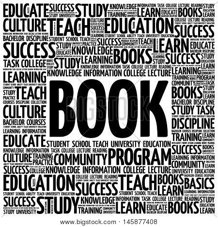 BOOK word cloud education concept , presentation background