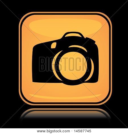 Yellow square icon photo camera
