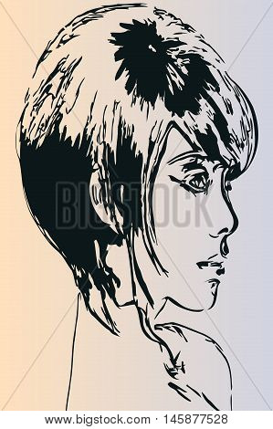 Vector illustration of a beautiful young girl art sketch face short hair