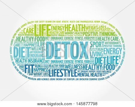 DETOX word cloud fitness health concept, presentation background