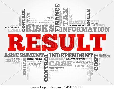 RESULT word cloud business concept, presentation background