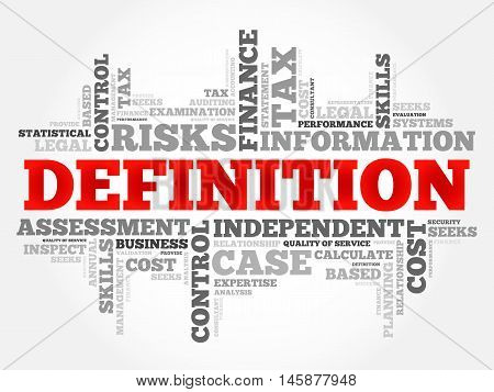 DEFINITION word cloud business concept, presentation background