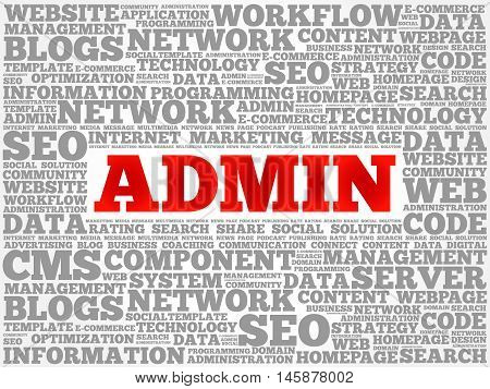 ADMIN word cloud concept , presentation background