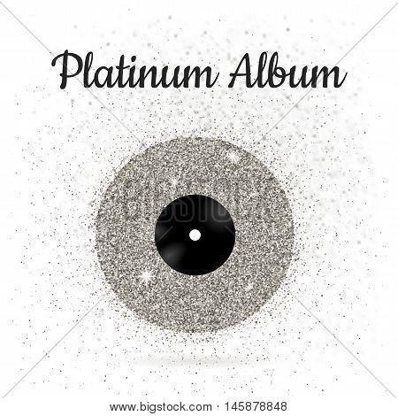 Vector illustration of metal vinyl disk: platinum