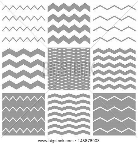 Tile vector chevron pattern set with white and grey zig zag background