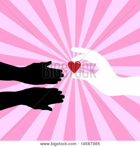 Silhouette of hands giving love