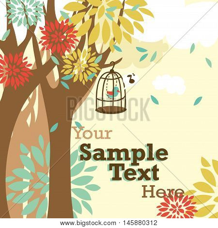 cute vector illustration with trees and singing bird in cage