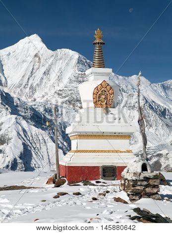 Panoramic view of Ganggapurna from Ice Lake way to Thorung La pass round Annapurna circuit trekking trail Nepal poster