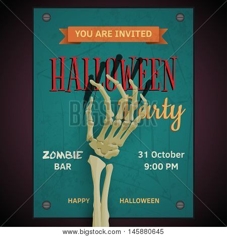 Vector Halloween party poster  with dead man's zombie arm on invitation to party