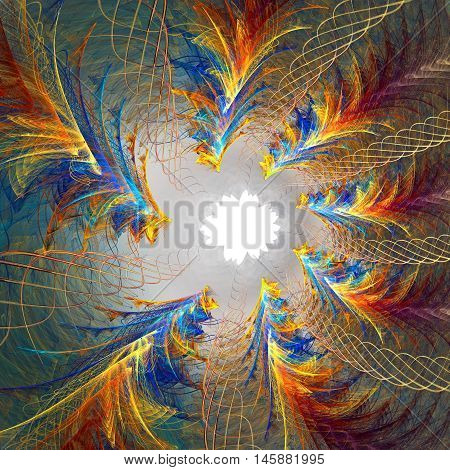 Fractal background with abstract star shapes. High detailed.