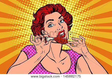 Woman eating a chicken leg, pop art retro comic book illustration. Restaurant and fast food, homemade food