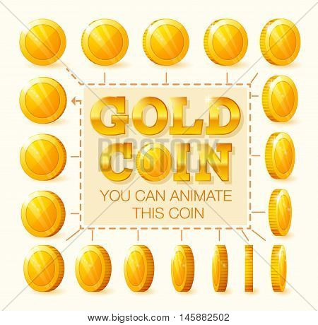 Coins rotation frames for web game or app interface. Golden coins. Coins for animation.