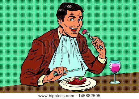 Elegant retro man eats in the restaurant and drinking wine, pop art retro comic book illustration