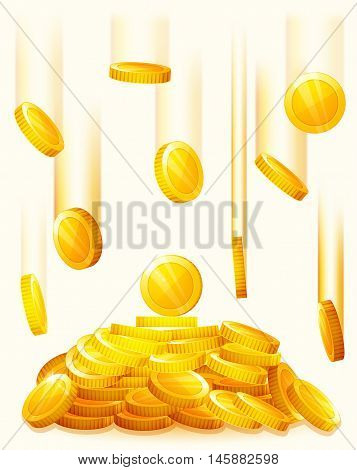 Falling golden coins. Rain from the golden coins. Money golden rain. Pile of coins