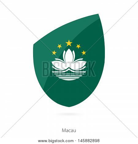 Flag of Macau in the style of Rugby icon. Vector Illustration.