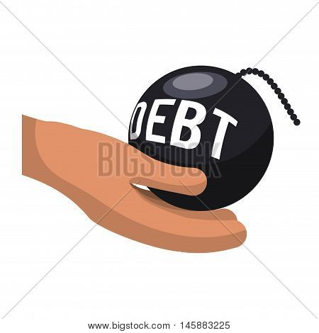 hand and bomb debt icon. Money financial and economy theme. Isolated design. Vector illustration