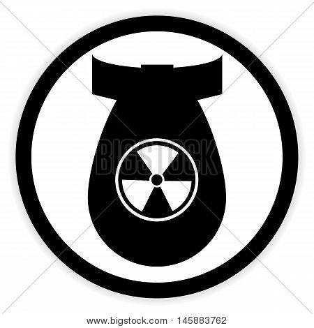Bomb button on white background. Vector illustration.