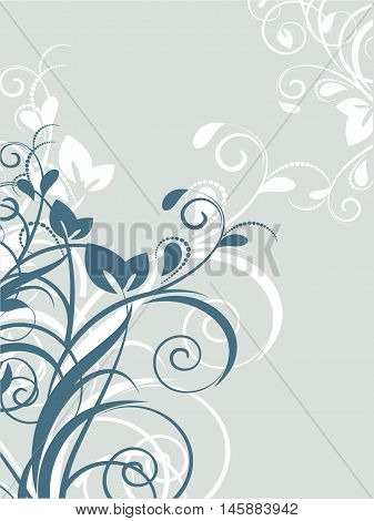Floral background with decorative branch. Vector illustration. abstract, art, backdrop, background, blue, card, circles, color, curl, curve, cute, decor, decoration, decorative, design, elegance, element, floral, flower, garden, graphic, illustration, lea