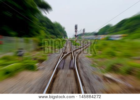railway track train fast run on railway track