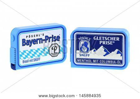 BAVARIA, GERMANY - JUNE, 2015 : Boxes of Poschl Gletscher Prise, nasal snuff in Bavaria, Germany on June 26, 2015. Snuff is smokeless tobacco with Brazil flavor and mint flavor, Colombian menthol oil