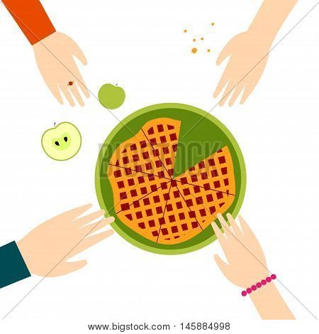 Apple pie Vector illustration Hands reach for the dish with the apple pie Flat design
