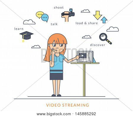 Young redhair girl using a tablet pc and watching a video online on the screen. Flat outlined contour illustration of online video streaming using mobile app to learn, talk and publish own video content