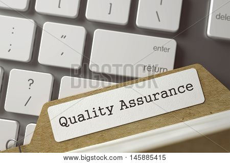 Quality Assurance written on  Folder Index on Background of White Modern Computer Keyboard. Archive Concept. Closeup View. Selective Focus. Toned Illustration. 3D Rendering.