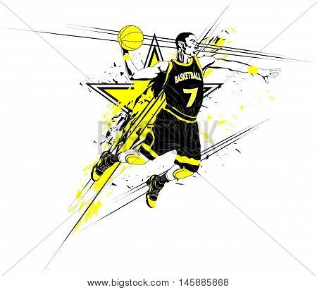 Vector illustration of a basketball player, stylized poster