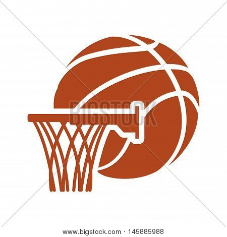 basket and ball icon. Basketball sport and competition theme. Isolated design. Vector illustration