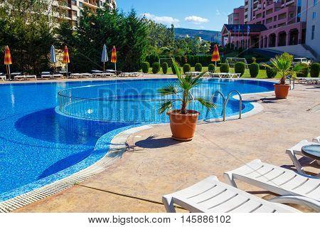 NESSEBAR BULGARIA - SEP 02: Swimming pool near by DIT Majestic Beach Resort in Nesebar Bulgaria at September 02 2016