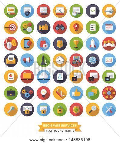 Search Engine Optimization Symbols. Collection of 49 flat design long shadow SEO and Web Services round icons.