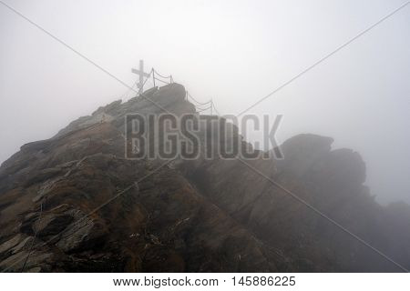 Peak of Kitzsteinhorn on a foggy summerday, Kaprun, Austria,