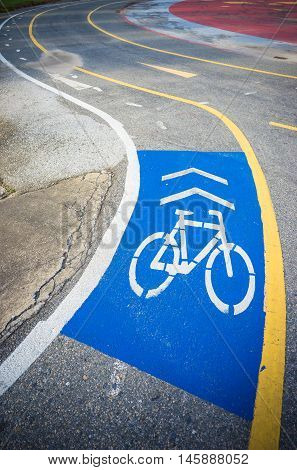 Blue cycle path sectioned from the road