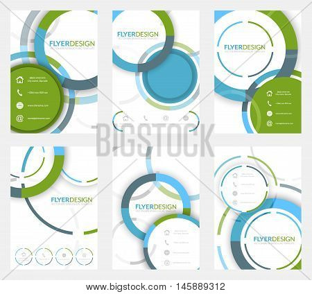 Set Of Business Flyer Template, Brochure Or Corporate Banner With Circular Pattern. A4 Size.